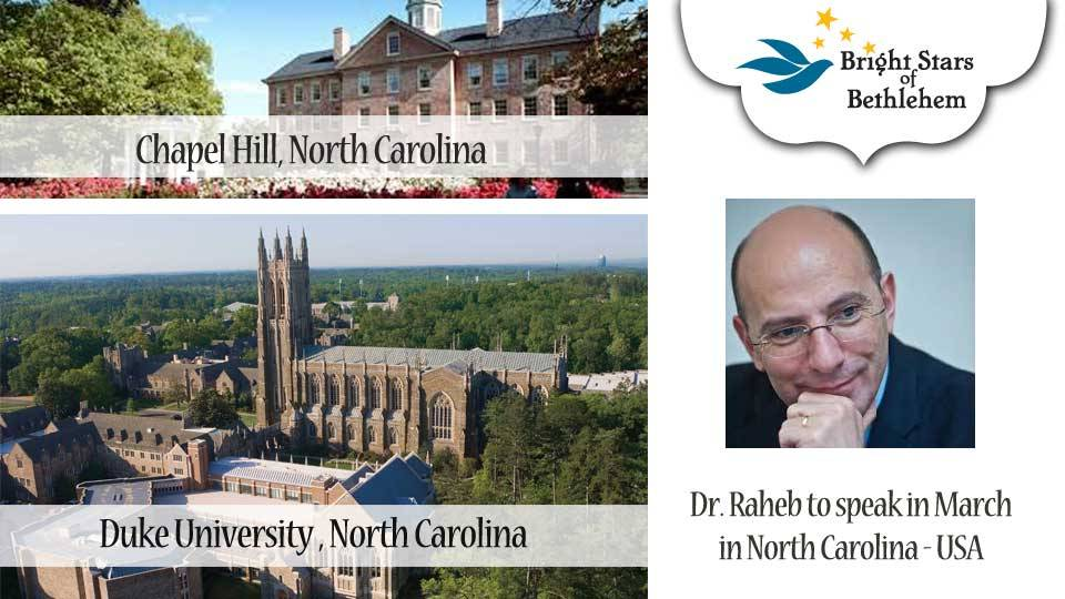 Dr. Raheb to speak in March in North Carolina - USA