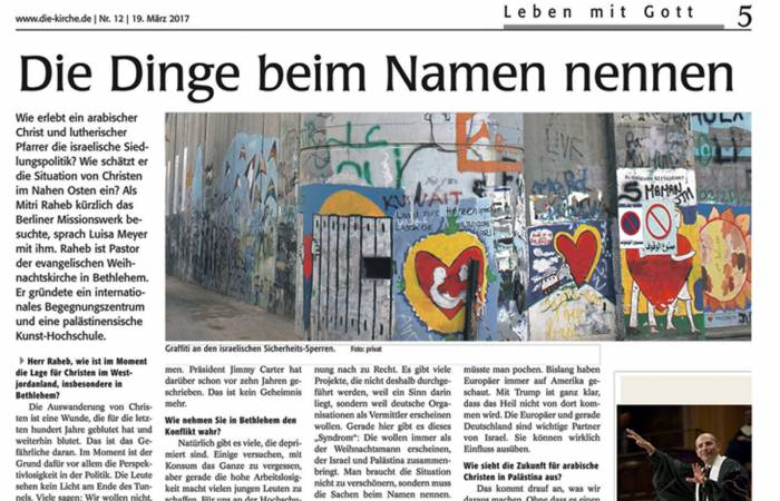 'Leben mit Gott' newspaper features Rev. Dr. Mitri Raheb