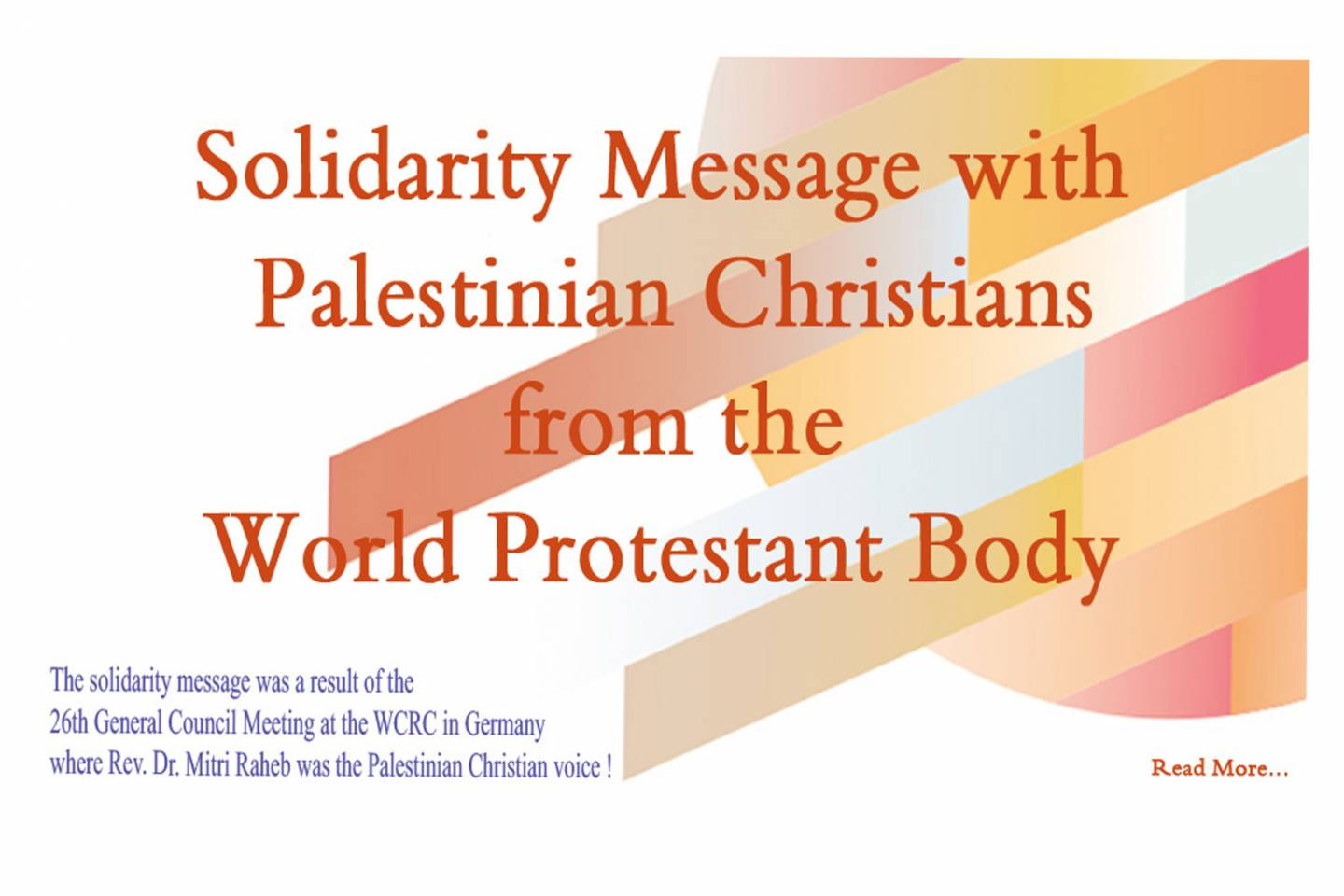 World Protestant body issues solidarity message with Palestinian Christians